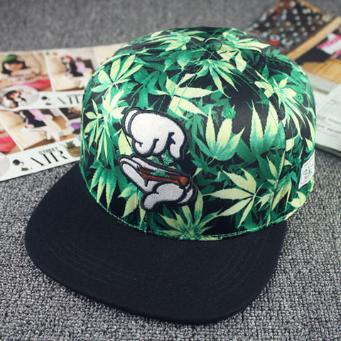 Fashion Men Women Cotton Cap Embroidery Hand Baseball Cap Black Leaf Snapback Hats Summer Casual Hip Hop Caps Flat Sun Hat - Style Lavish