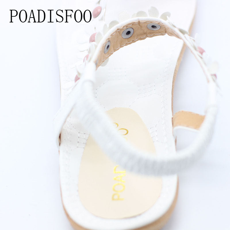 Summer Bohemian Women Sandals Slippers For Women Shoes Flip Folder Toe Flat Shoes With Flower
