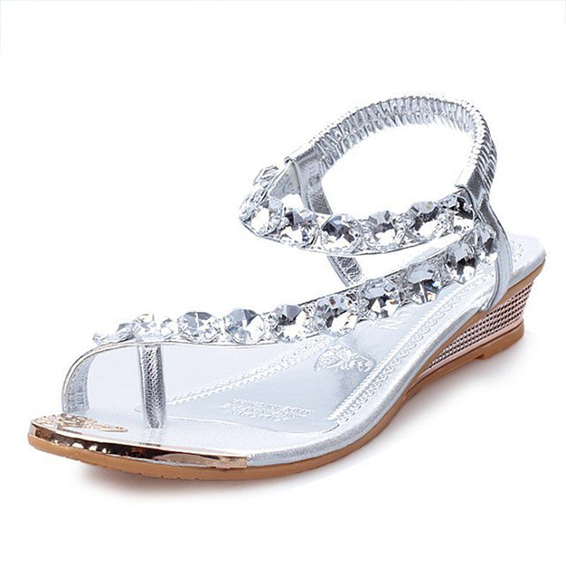 Crystal Rhinestone Summer Sandals Women Gladiator Sandals Bohemia Beaded Flats Soft Platform Shoes - Style Lavish