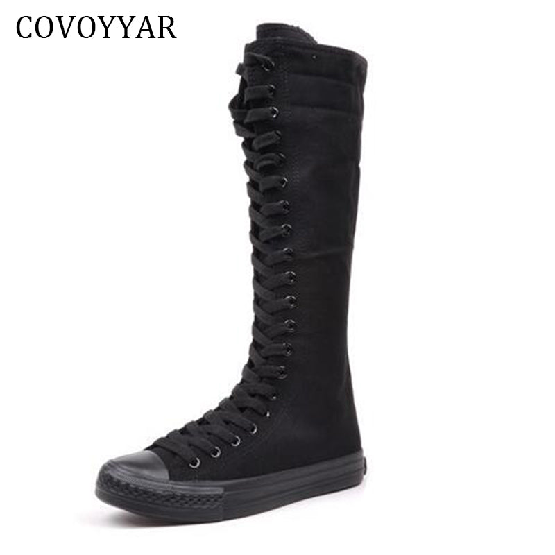 Canvas Knee High Boots Fall Winter Fashion Platform Lace Up Women Shoes Mid-Calf Boots - Style Lavish