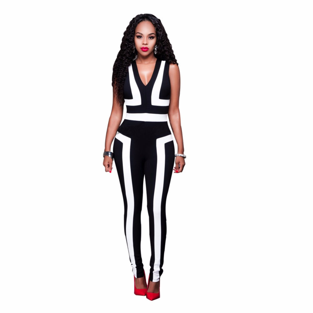 Women Rompers Jumpsuit Sexy Off Shoulder Bodysuit v-neck vests Jumpsuit Overalls Patchwork Striped Body Suit
