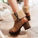 Women Winter Snow Ankle Boots Russia knitting Boots College Wind Cotton Shoes Platform Footwear