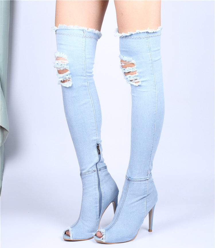 Women Summer Autumn Peep Toe Over The Knee Boots Jeans Fashion Boots High Heels
