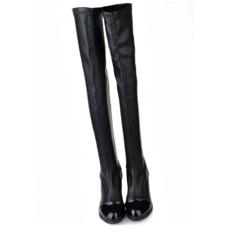 Chic Slim Women Knee High Boots PU Leather Riding Thigh High Boots Black Motorcycle Boots Autumn Winter Women Shoes