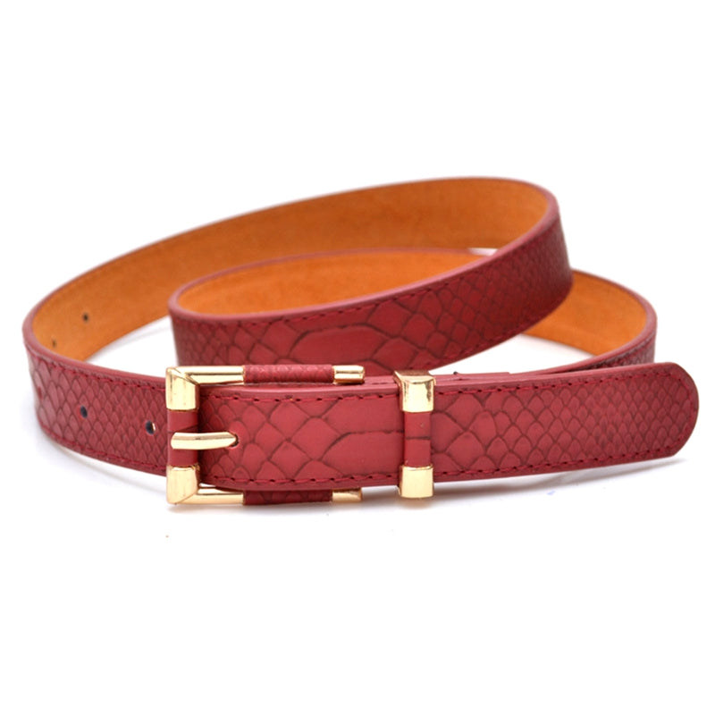 Women Fashion Punk Thin Waist Belt black red trench female genuine leather strap buckle