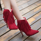 women's sexy Style High heels Tassel boots Slip-On ladies Pumps Party Gladiator