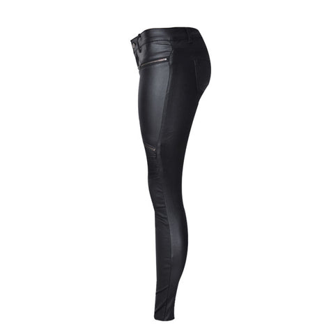 Women PU Leather Pants With Low-Waist Female Women's Tights Elasticity Pencil PU Leather Pants
