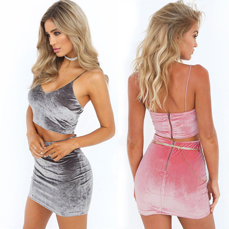 Summer Women Casual Short Mini Dress Solid V-neck Sleeveless Summer Costume Party Evening Bodycon Sleeveless 2PCs
