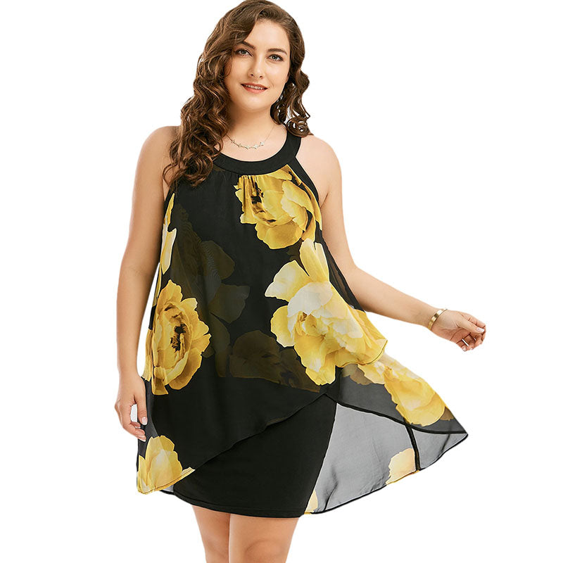 Floral Print Sexy Chiffon Mini Tank Dress Women Sleeveless Overlay Sheath Summer Dresses Sundress