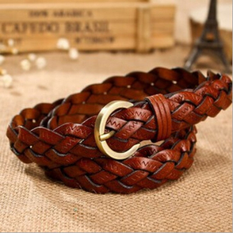 Women Belts Genuine Leather Strap Fashion Braided Waist Belt Pin