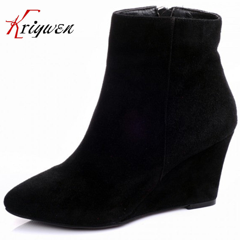 Fashion Elegant Ankle Boots heels Women Sexy Vintage suede Martin boots pointed Toe - Style Lavish
