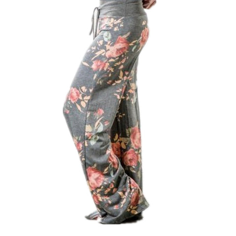 Summer High Waist Wide Leg Pants Women Casual Palazzo Trousers Floral Long Pants