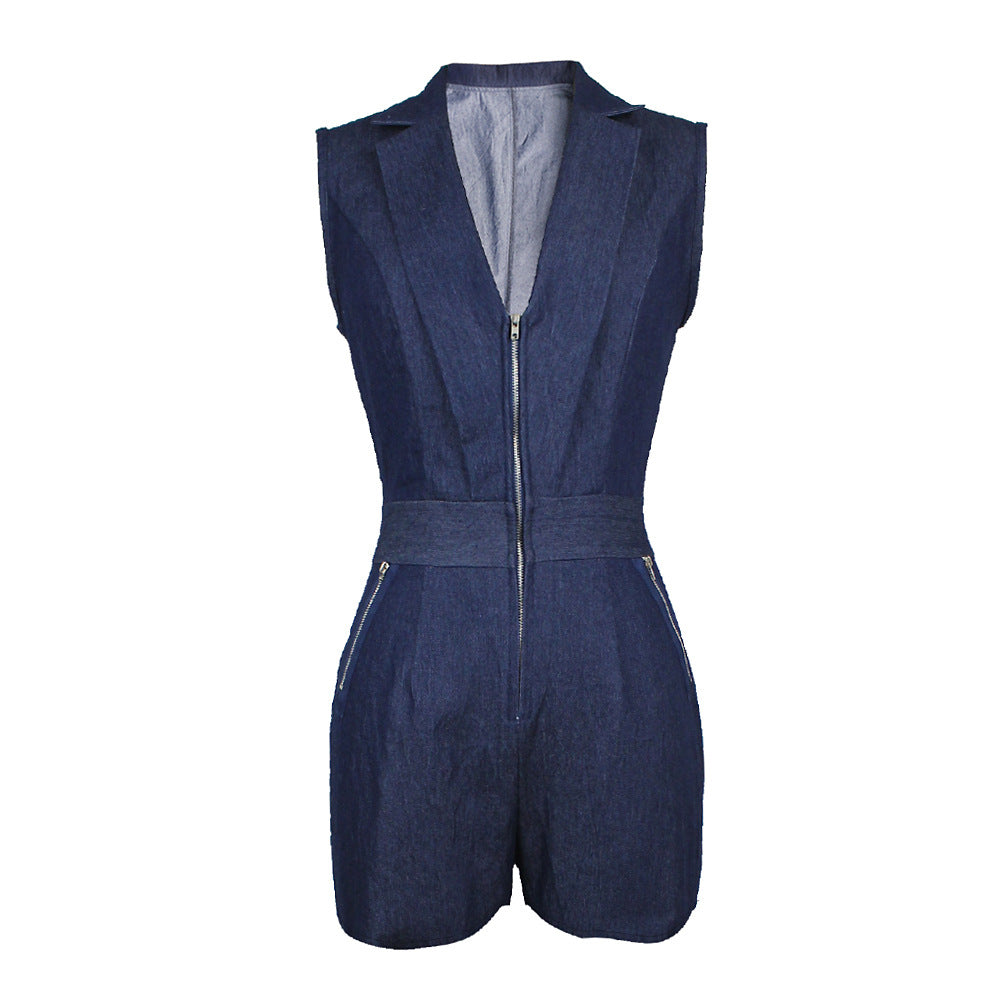 Women Summer Denim Jumpsuit Sleeveless Short Jeans Sexy Deep V - Neck Slim Playsuits Rompers