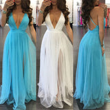 Women Summer Sleeveless Long Maxi Evening Party Dress Beach Dresses Sundress