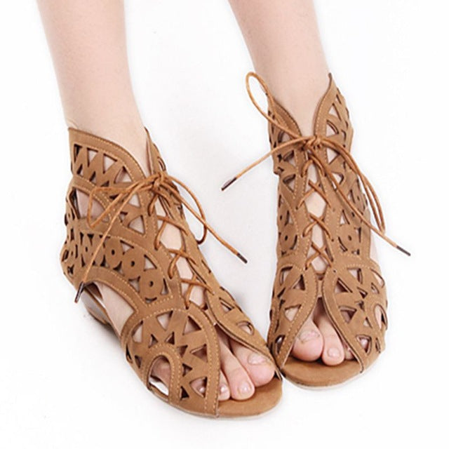 Fashion Cutouts Lace Up Women Sandals Open Toe Low Wedges Bohemian Summer Shoes - Style Lavish