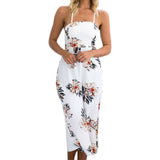 Floral Print Jumpsuits Strap Overalls Summer Women Sexy Loose Boho Backless Casual Spaghetti Beach Jumpsuit