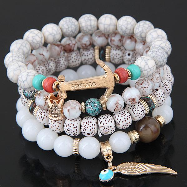 Beads Bracelets For Women Multilayer Beaded Chain Vikings Anchor Charm Bracelets & Bangles Bohemia Vintage Jewelry - Style Lavish