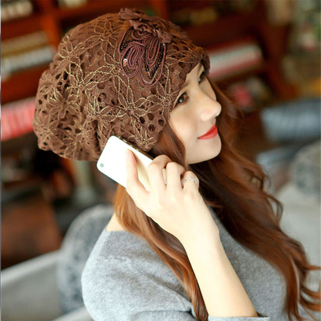 Fashion Beanies Knitted Winter Hat Warm Ski Caps For Women Casual Brand Skullies Beanie Lace Cap - Style Lavish
