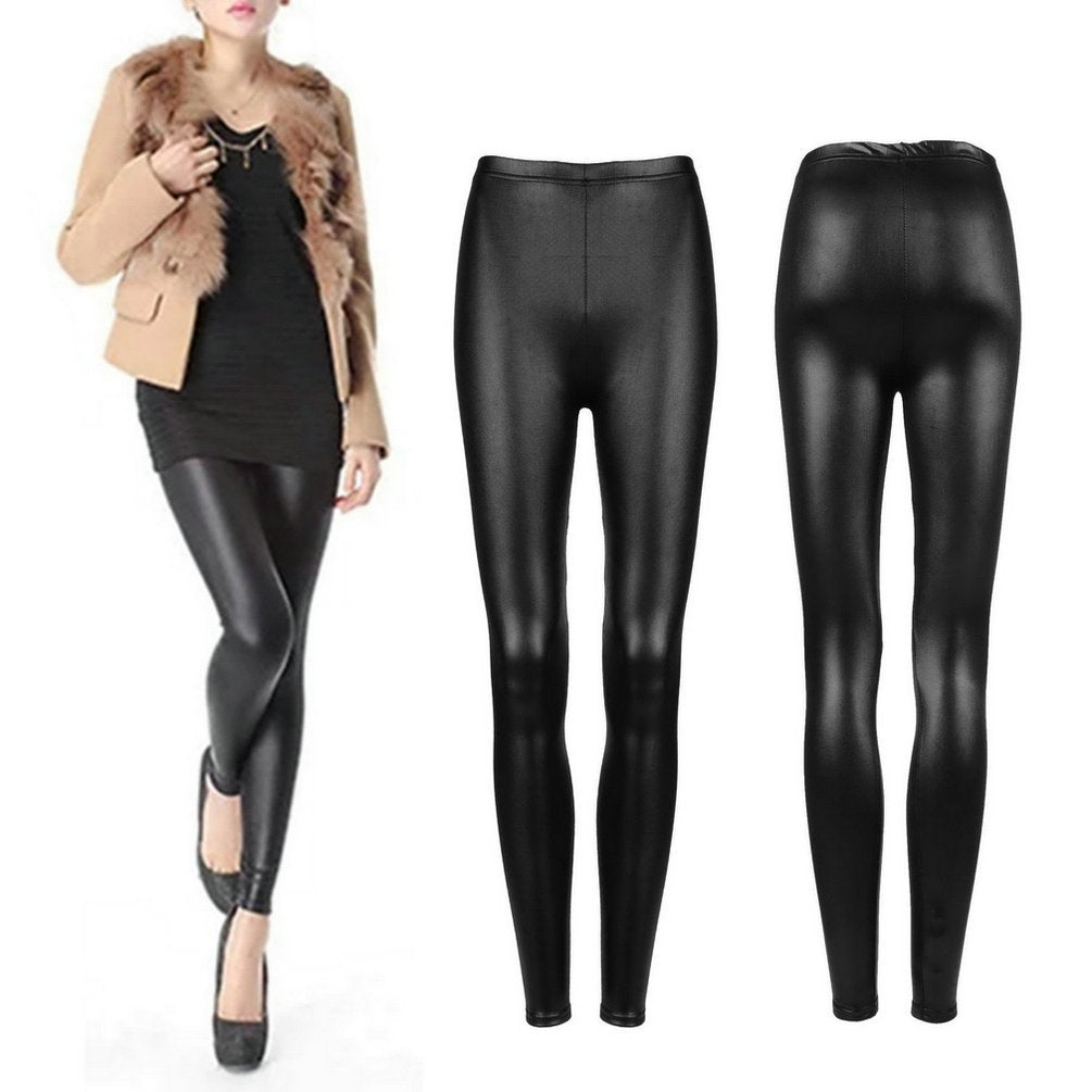 Women Autumn Sexy Black Faux PU Leather Leggings Velvet Thick Warm Skinny Pencil Pants Slim Sexy Push Up Legging