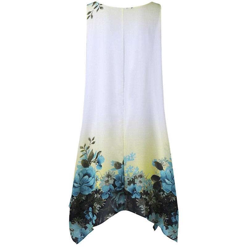 White Floral Print Chiffon Tank Dress Women Flare Sundress Boho Beach Asymmetrical Summer Dress