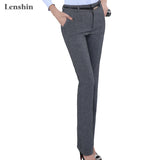 Belt Loop Formal Pants For Women Lady Style Work Wear Straight Trousers Clothing - Style Lavish