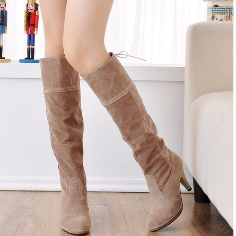 Slip On Women Winter High Heels Knee High Boots Round Toe Solid Fashion Shoes