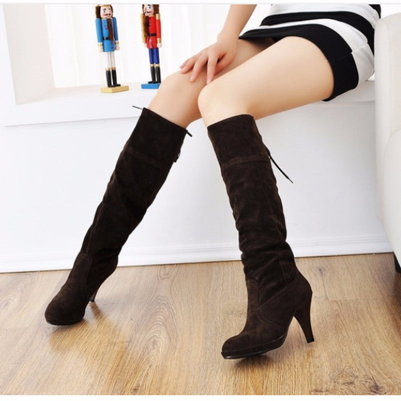 Slip On High Heels Knee High Women Winter Boots Round Toe Solid Fashion Shoes