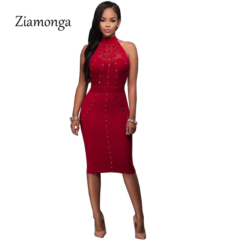 96568fa55ed ... Black Red Sleeveless Studded Rivet Mesh Sexy Women Dress Novelty Bodycon  Bandage Midi Party Dresses ...