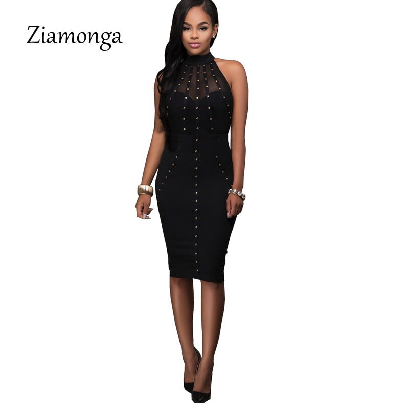 ea157de20eb82 ... Black Red Sleeveless Studded Rivet Mesh Sexy Women Dress Novelty  Bodycon Bandage Midi Party Dresses ...