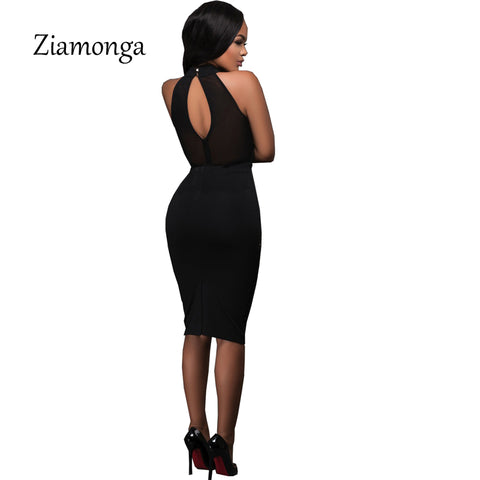 Black Red Sleeveless Studded Rivet Mesh Sexy Women Dress Novelty Bodycon Bandage Midi Party Dresses - Style Lavish