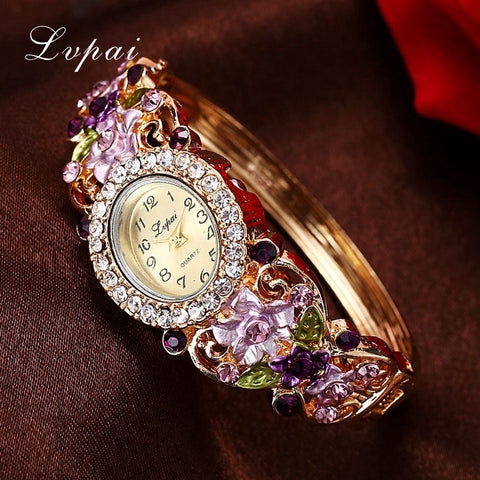Ladies Quartz Watches Women Dress Watch Vintage  Flower Pattern Wristwatch Fashion Bracelet Watches