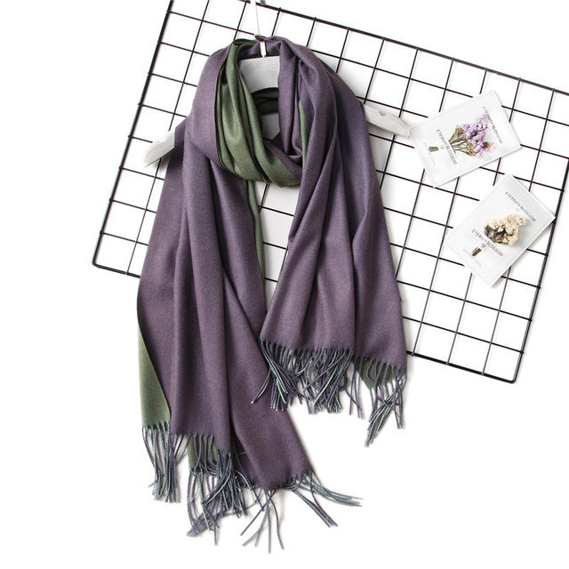 Women Winter Scarf Fashion Solid Double Side Soft Cashmere Scarves Shawls Wraps Bandana Tassel