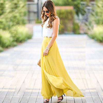 Women Summer Chiffon Stretch High Waist Maxi Skater Flared Pleated Long Skirt Summer