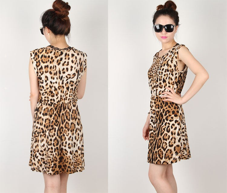 Fashion Sleeveless Round Leopard Dress Comfortable Breathable Wild Tide - Style Lavish