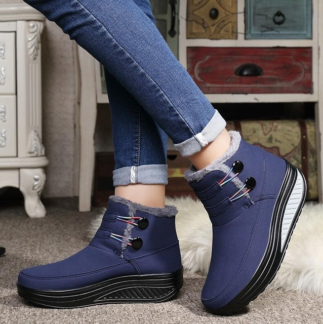 Woman Platform Winter Shoes Keep Warm Snow Boots Spli-On Cotton Ankle Boots
