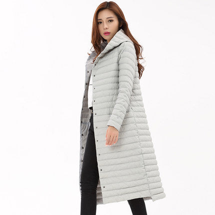 Women  Winter White Duck Down Parkas Down Jacket Wadded Coat Warm Cotton Coat Long Button Parkas