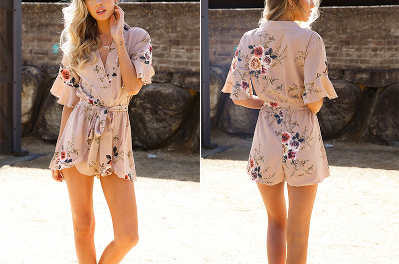 Women Elegant Summer Boho Floral Print Ruffles V-Neck Jumpsuits Rompers Sexy Beach Short Overalls