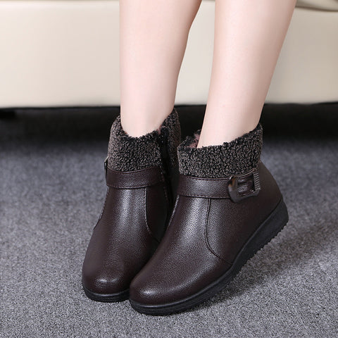 Women Winter Waterproof Warm Snow Boots Leather Shoes Zip Ankle Boots