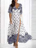Woman Bohemian Dresses Sexy Deep V Neck Retro Vintage Floral Print Half Sleeve Tunic Belted Long Maxi Dress
