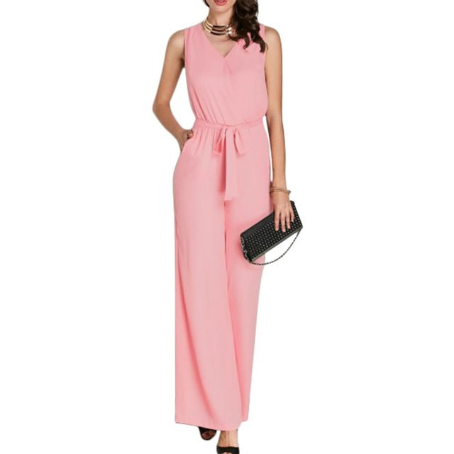 Summer Women Pink Sleeveless V Neck Loose Wide Legs Pant Jumpsuits with Pockets Casual Lacing Rompers