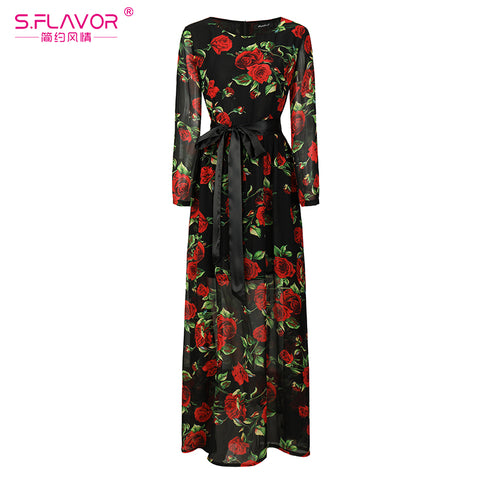 08bb674af41 Bohemian Style Women Long Dress S.Flavor Rose Printing O-neck Long Sleeve  Casual Dresses With Belt Autumn Fashion Chiffon dress