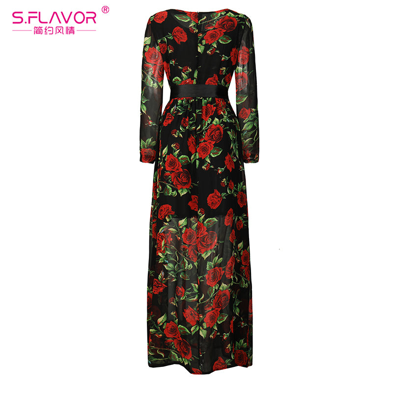 eb065253b2c ... Bohemian Style Women Long Dress S.Flavor Rose Printing O-neck Long  Sleeve Casual ...