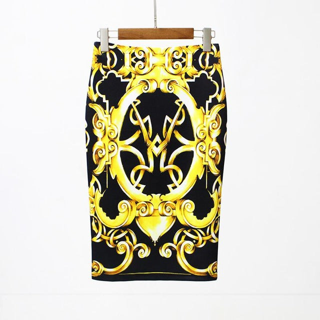 ... Women Floral Print Multiple Color Pencil Midi Skirt Vintage Basic  Bodycon Skirts ... 9768605a74cb