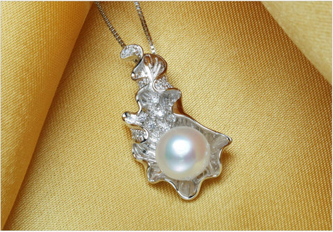 Leaf Pendants Natural Pearl Necklace Women Fashion Leaf Necklace