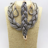 Women Bohemian Style Punk Colorful Simple Metal braid Twist Chain necklaces casual  jewelry sets