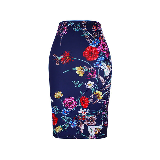 Fashion Flower Red Roses print women pencil skirts - Style Lavish