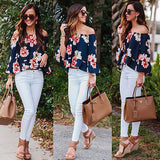 Fashion Women Summer Floral Off Shoulder Ruffles Casual Blouses Crop Tops Shirts Long Sleeve Chiffon Shirt - Style Lavish