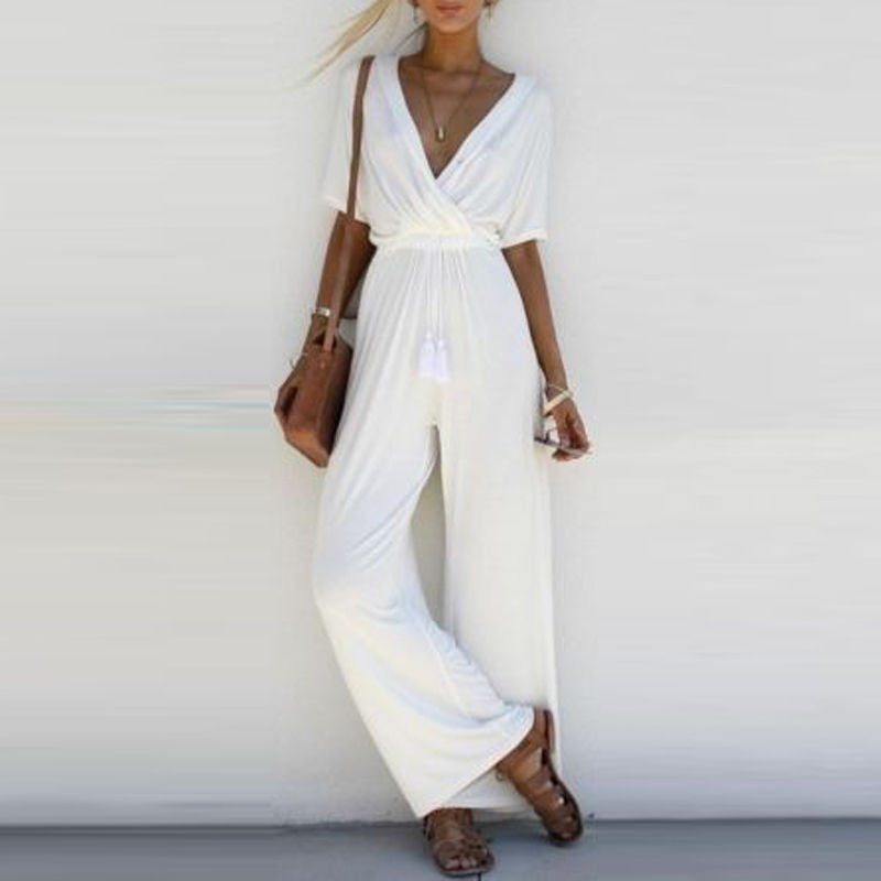 Women Jumpsuit Romper Short Sleeve V Neck Casual Overalls Wide Leg Loose
