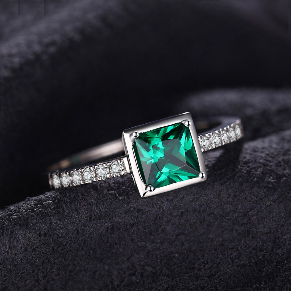 Square 0.5ct Created Green Emerald Solitaire Ring 925 Sterling Silver Rings for Women Fine Jewelry