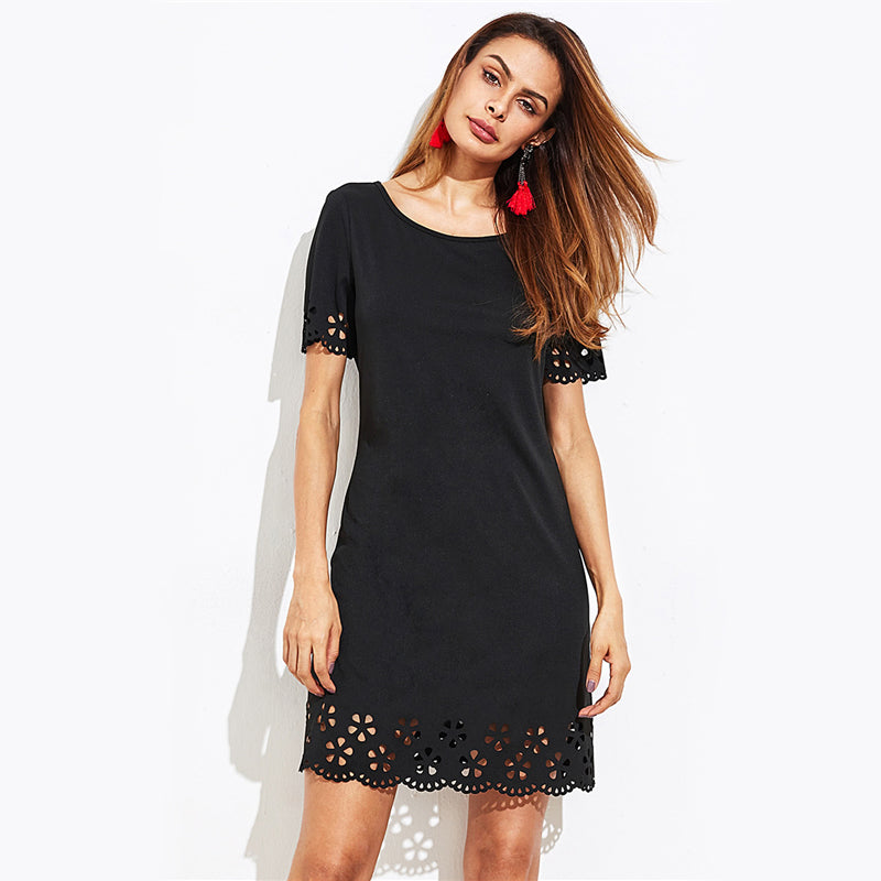 Scallop Laser Cut Keyhole Back Dress Black Round Neck Short Sleeve Cute Dress 2017 Ladies Casual Summer Dress